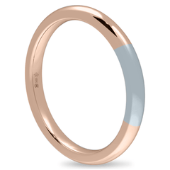 18K 2mm Bicolor Band-Rose/White