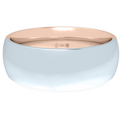 18K 6mm Bicolor Band-Equal Pink/White