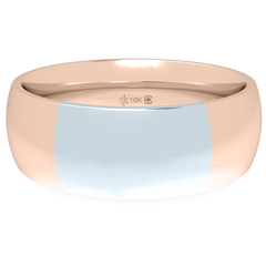 18K 6mm Bicolor Band-Pink/White