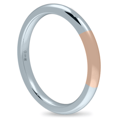 18K 2mm Bicolor Band-White/Pink