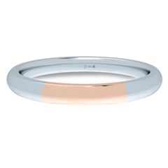 18K 2mm Bicolour Band-White/Rose