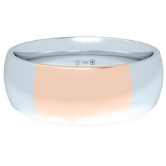 18K 6mm Bicolor Band-White/Pink