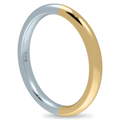 18K 2mm Bicolour Band-Equal Yellow/White