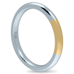 18K 2mm Bicolor Band-White/Yellow