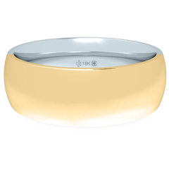 18K 6mm Bicolor Band-Equal Yellow/White