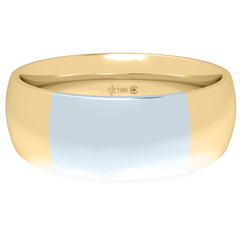 18K 6mm Bicolour Band-Yellow/White