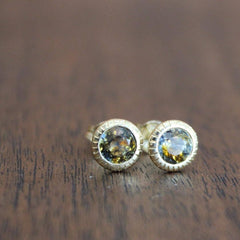 18K Multi-Colour Sapphire Bezel-Set Earrings