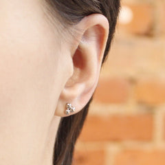 White Gold Molecule Stud Earrings