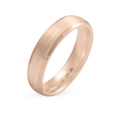 18K Bevelled 5mm Wide Low Dome Band