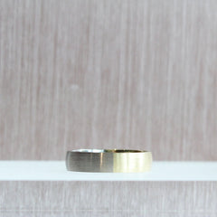 18K 5mm Bicolour Band Half & Half Yellow/White with a Satin Finish