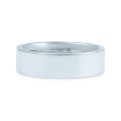 Platinum 6mm Wide Flat Band