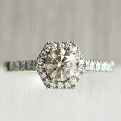 Hex Halo with 0.62 Honey Yellow Lab Grown Diamond & Diamond Accents