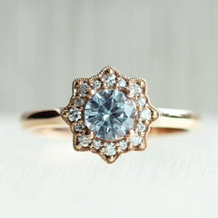 Montana Sapphire Flora Halo in Rose