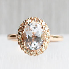 Oval Love Note Halo with Chatham Lab Grown Sapphires