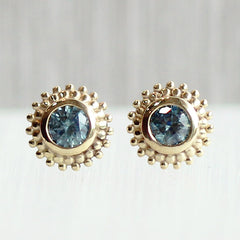 Dahlia Stud Earrings in 18K Yellow with Montana Sapphires