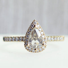 Love Note Pear Halo Rose-Cut Vintage Diamond in Yellow Gold