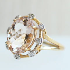 Vintage Morganite Cocktail Ring - Fairtrade Jewellery Co.