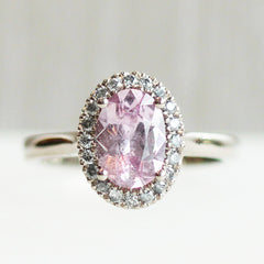 Oval Love Note Halo with Pink Akara Sapphire and Salt & Pepper Diamond Accents