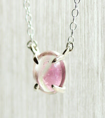 1.20 Pink Tourmaline Oval Cabochon Pendant in White Gold