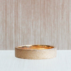 Knurling Flat Band in Rose Gold