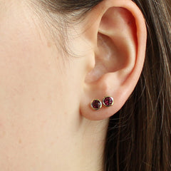 Garnet Bezel Earrings