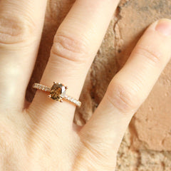 Vintage Brown Cushion Diamond in our Love Note with Pavé in Rose - Fairtrade Jewellery Co.
