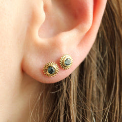 Dahlia Stud Earrings in Yellow with Montana Sapphires
