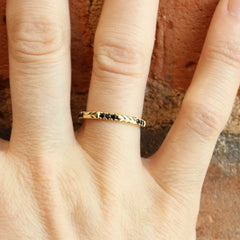 Chevron Stacker in Yellow Gold with Black Spinels