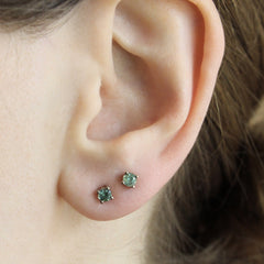 4 Prong Basket Studs with Green Montana Sapphires