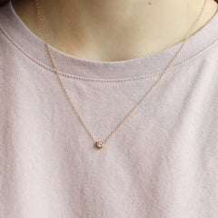 Rose Gold Bezel Set Diamond Necklace