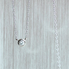 Palladium White Gold Bezel Set Diamond Necklace