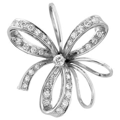 Vintage Diamond Bow and Ribbon Brooch