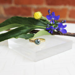 Engraved Bezel Ring with Green Sapphire