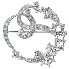 Vintage Diamond and Platinum Wreath Brooch