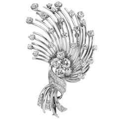 Vintage French Floral Brooch in Platinum