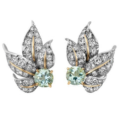 Vintage Leaf Motif Earrings with Diamond and Aquamarine