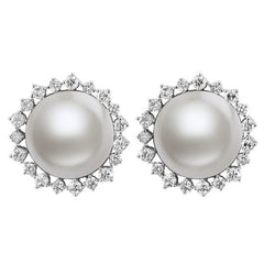 Vintage Mabe Pearl and Diamond Earrings