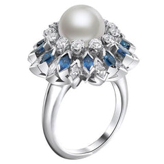 Vintage Pearl, Diamond and Sapphire Ring
