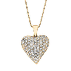 Vintage Puffed Heart Shape Pendant with Diamonds