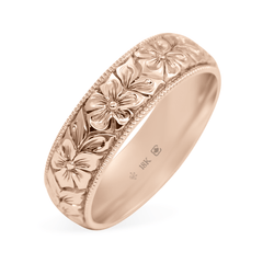 18K 5.5 mm Hand Engraved Flower Band