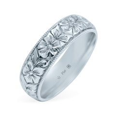 Platinum 5.5mm Hand Engraved Flower Band