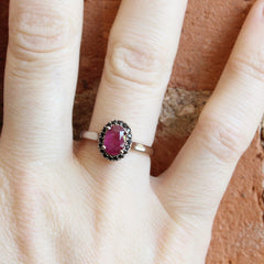 Oval Love Note Halo with AKARA Greenland Ruby + Black Spinel Halo