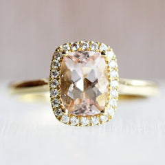 Cushion Morganite Halo Ring