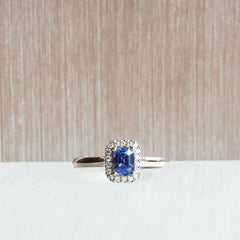 Emerald-Cut Blue Sapphire Love Note Halo