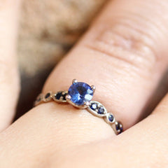 Madagascar Sapphire Clara Engagement Ring in 18K Palladium White Gold