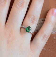 Oval Tsavorite Love Note in White Gold