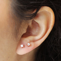 3mm Diamond Studs in 18K Rose Gold