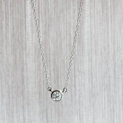 Diamond Bezel Pendant in Palladium White Gold