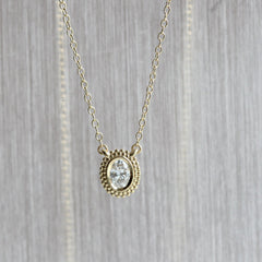Oval Dahlia Pendant in Yellow Gold