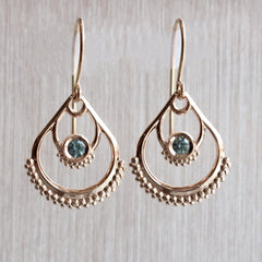 Montana Sapphire Dahlia Drop Earrings